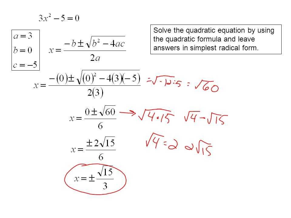 Quadratic Equation Worksheet with Answers Also Quadratic formula Simplest Radical form Worksheet Kidz Activities