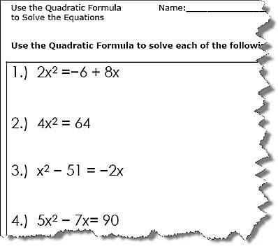 Quadratic Equation Worksheet with Answers and solving Quadratic Equations Worksheet Unique Use the Quadratic