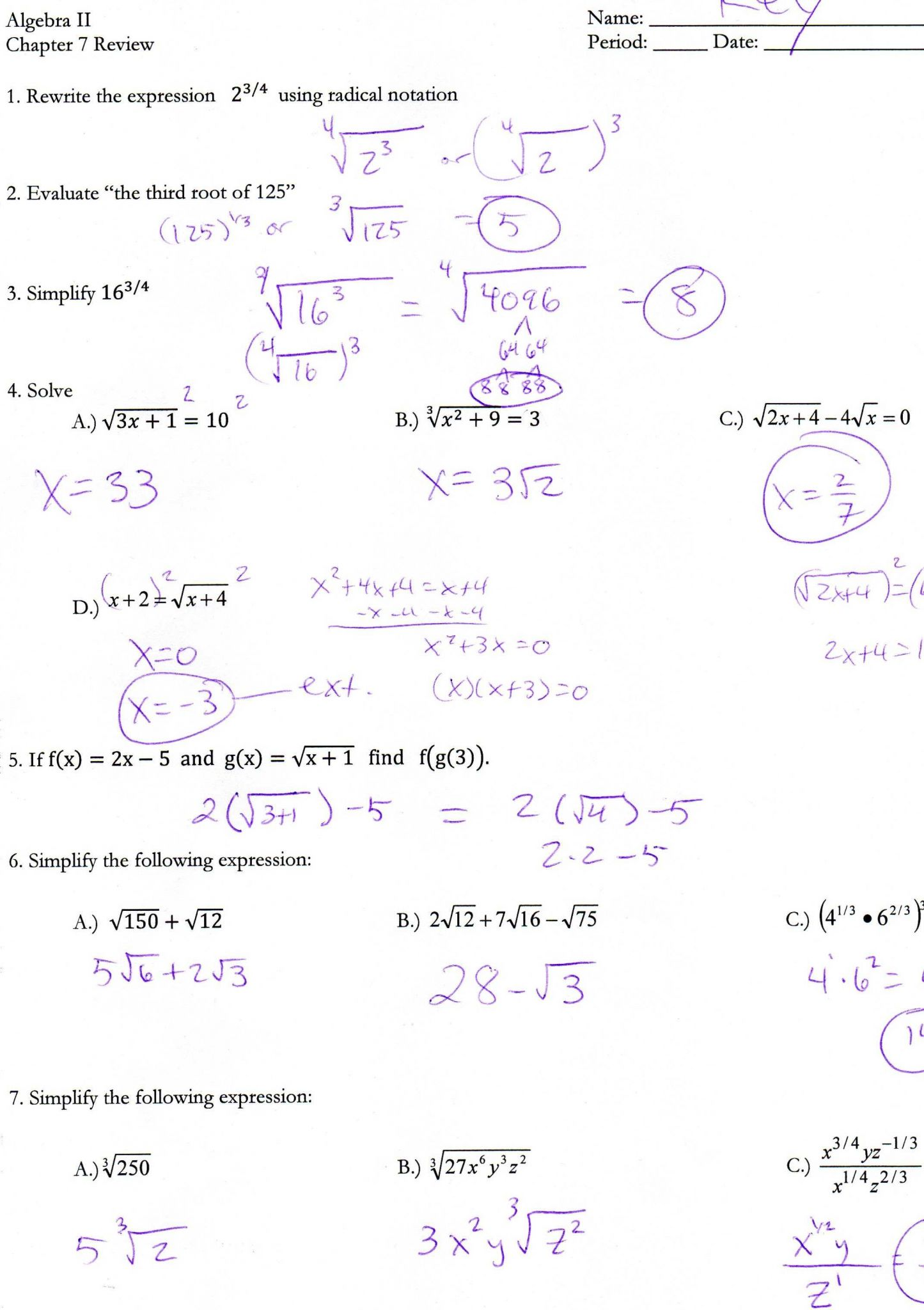 Radicals and Rational Exponents Worksheet Answers as Well as Algebra 2 Chapter 5 Quadratic Equations and Functions Answers
