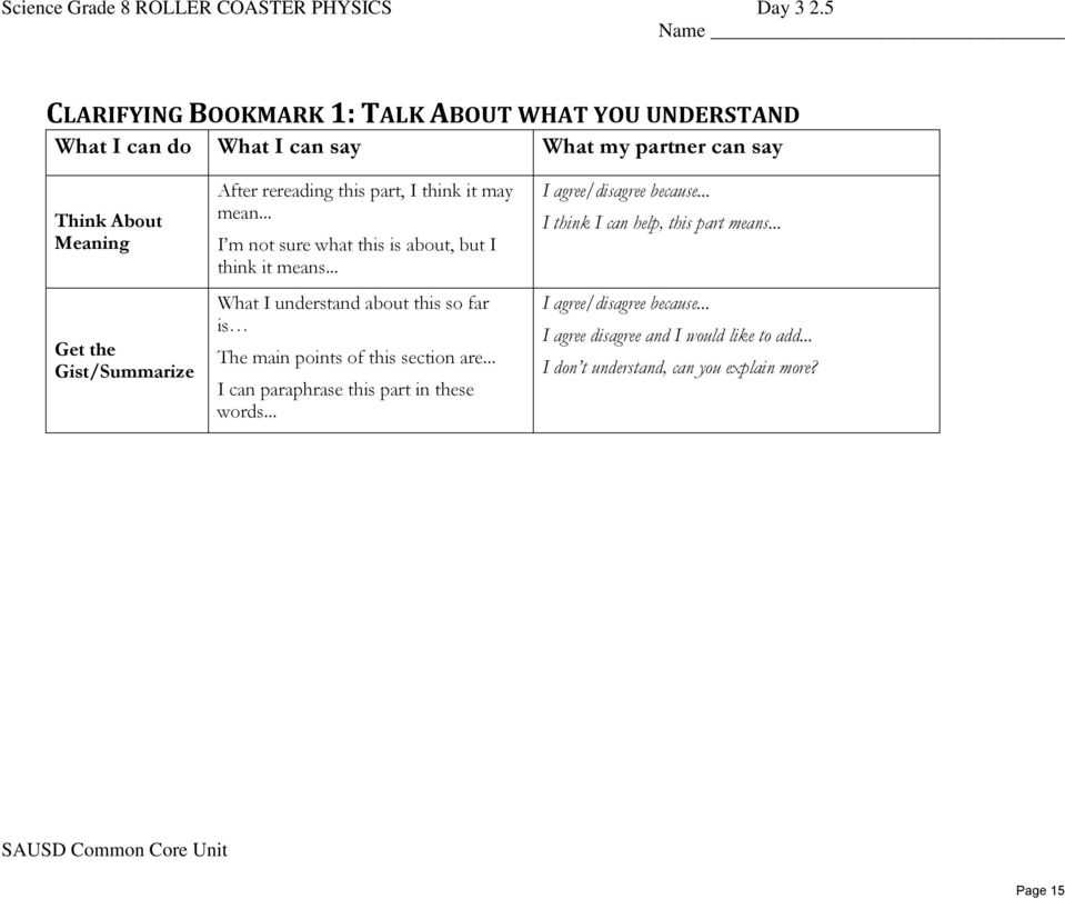 Roller Coaster Physics Worksheet Answers or Getting to the Core Grade 8 Unit Of Study Student Resource Roller