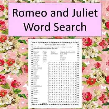 Romeo and Juliet the Prologue Worksheet Also Romeo and Juliet Word Search Teaching Resources
