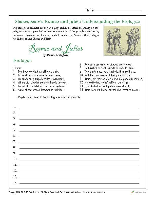 Romeo and Juliet the Prologue Worksheet together with Shakespeare S Romeo and Juliet Understanding the Prologue