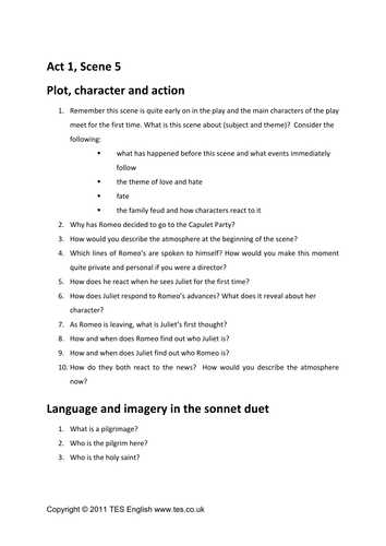 Romeo and Juliet Worksheets Act 1 Along with Romeo and Juliet Act 1 Scene 5 Prehension by Tesenglish