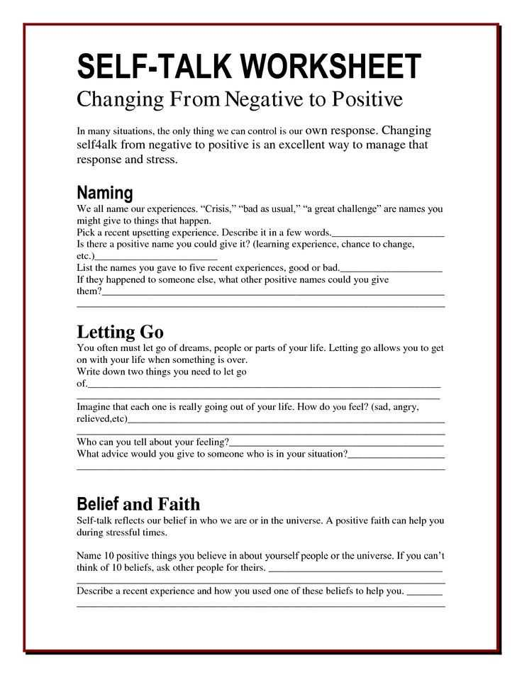 Self Esteem Worksheets for Elementary Students Along with the Worry Bag Self Talk Worksheet the Healing Path with Children