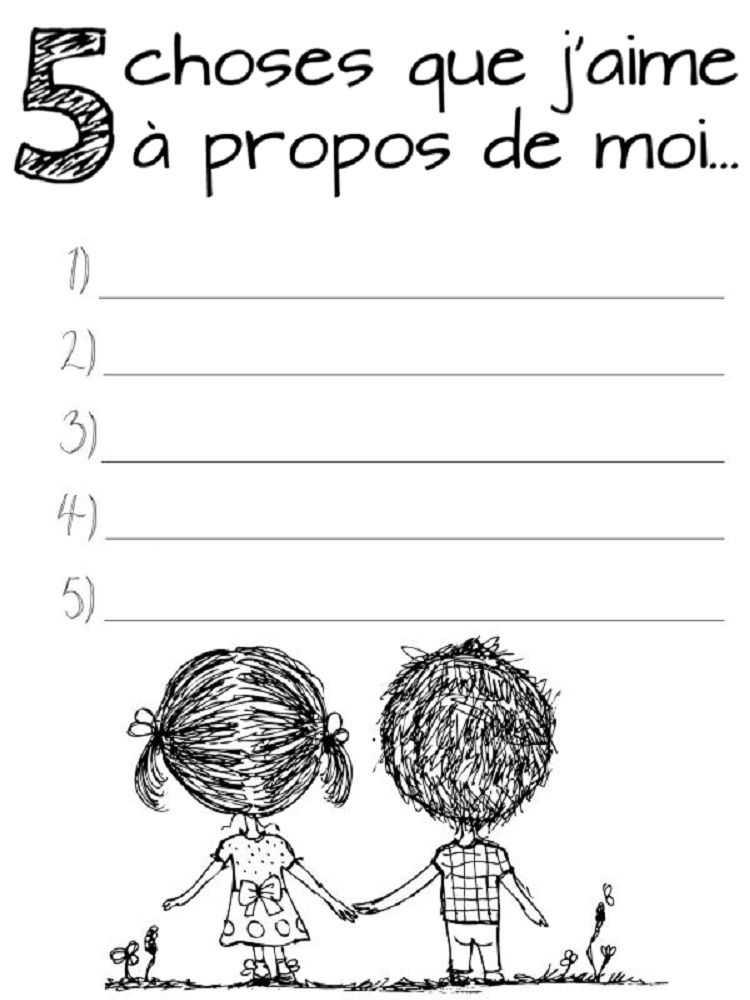 Self Love Worksheet as Well as Activités Pour Développer L Estime De soi Des Enfants