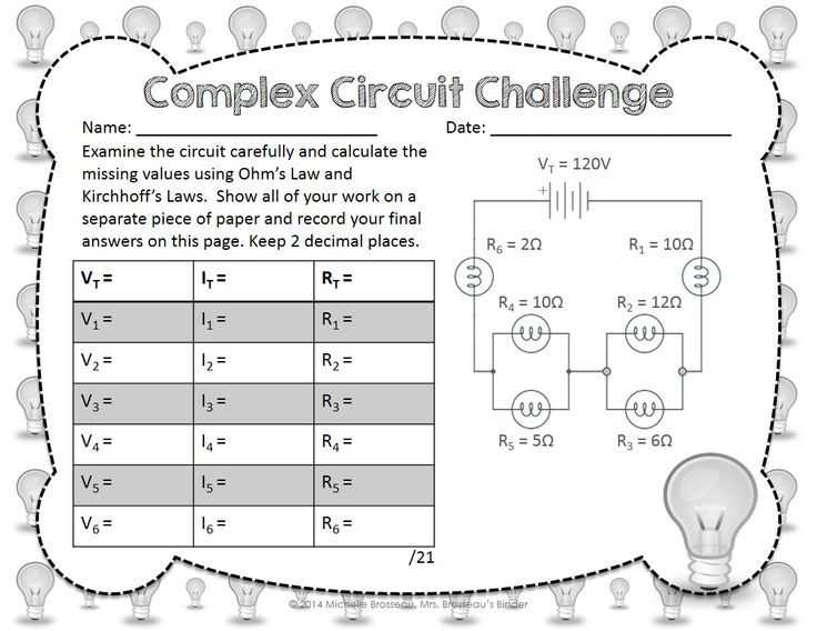 Series and Parallel Circuits Worksheet with Answers together with Plex Circuit Challenge Ohm S Law & Kirchhoff S Law In Mixed