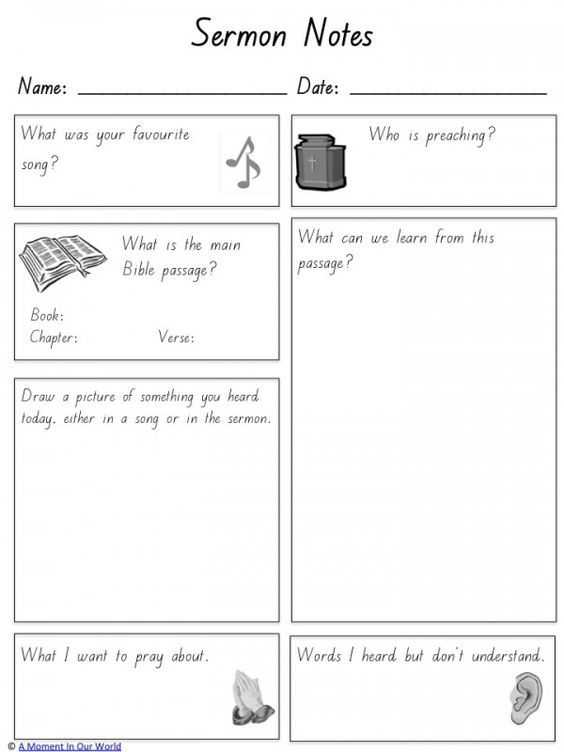 Sermon Preparation Worksheet together with 19 Best Kids Sermon Notes Images On Pinterest