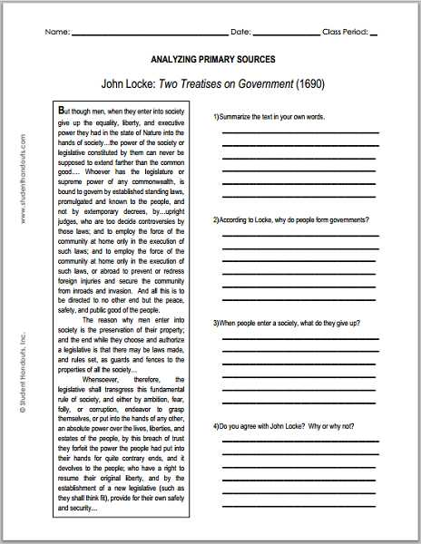 Seven Principles Of Government Worksheet Answers with John Locke Enlightenment Two Treatises On Government Primary