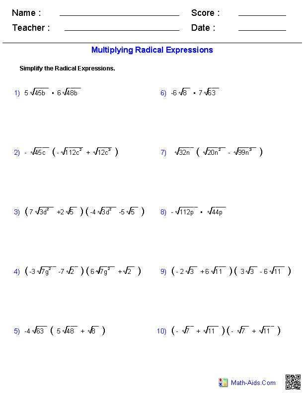 Simplifying Radical Expressions Worksheet Answers with 8th Grade Algebra Worksheets