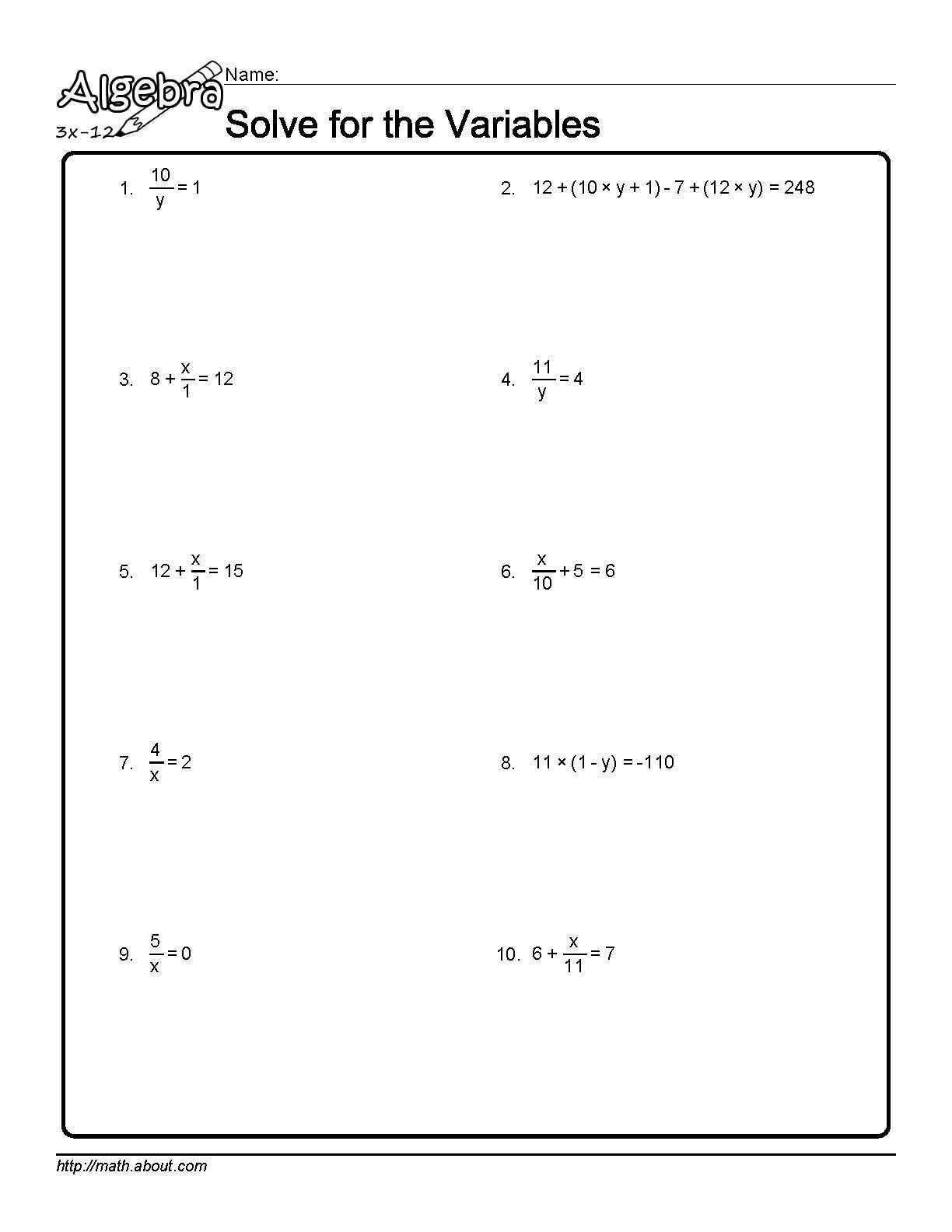 Solving Linear Equations Practice Worksheet together with solve for the Variables Worksheet 1 Of 10