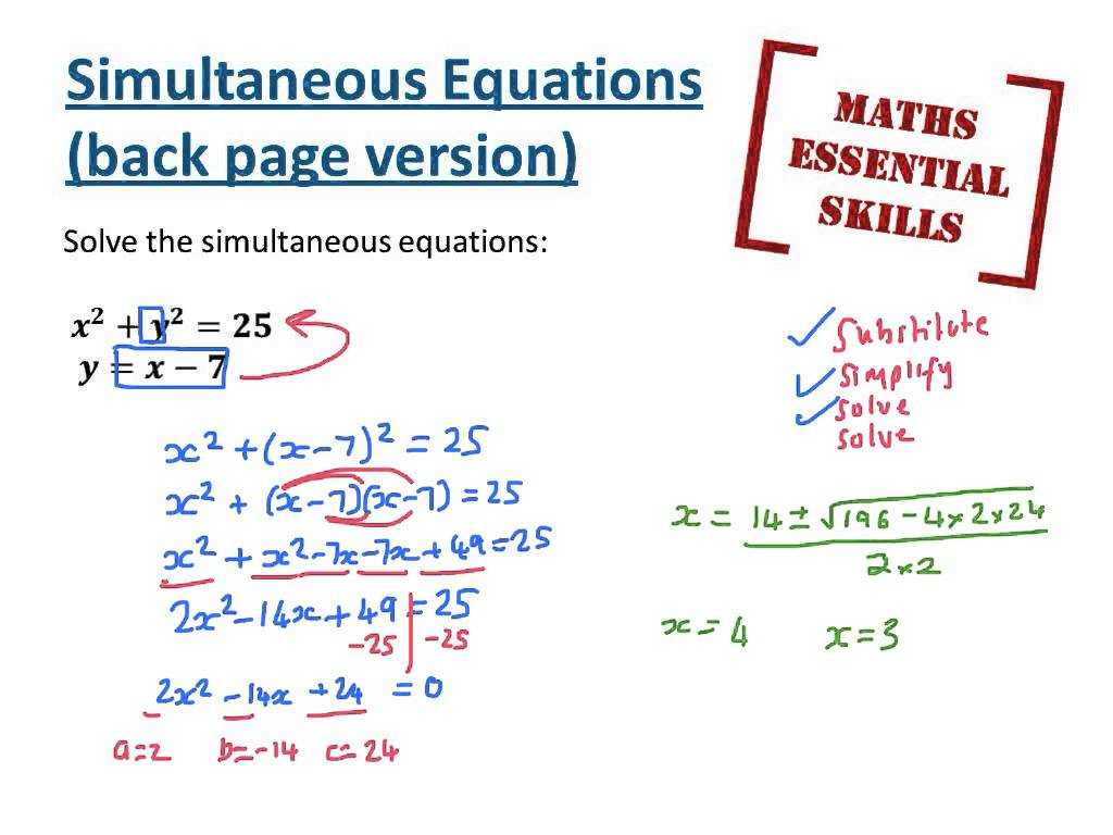 Solving Systems Of Linear Equations by Substitution Worksheet Also Simultaneous Equations Back Pages