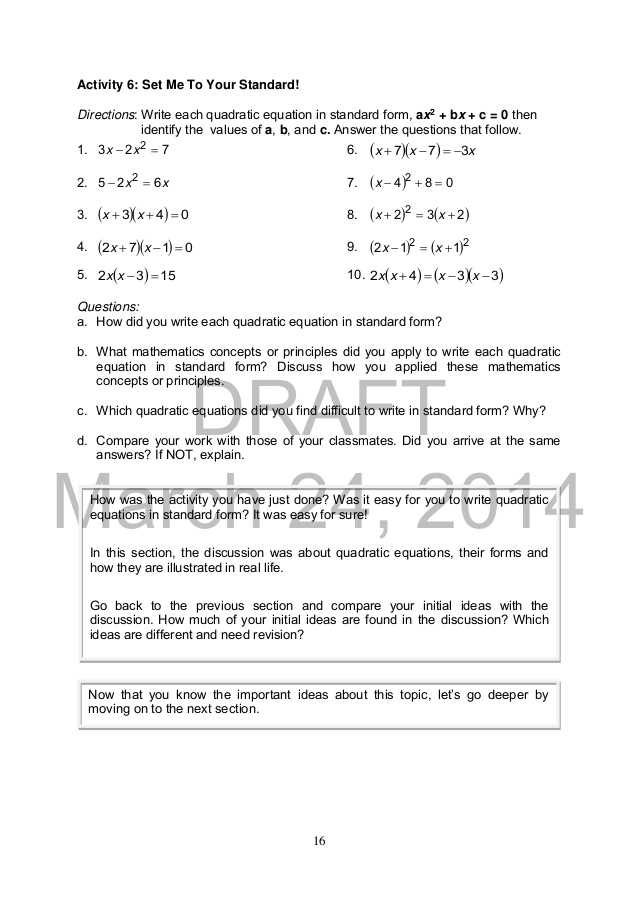 Solving Using the Quadratic formula Worksheet Answer Key with Mathematics 9