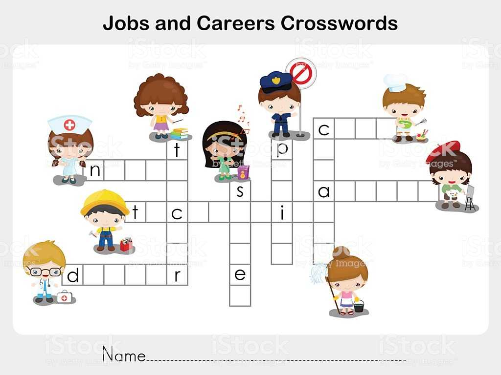 Spanish for Adults Free Worksheets Also Jobs and Careers Crosswords Worksheet for Education Stock Ve