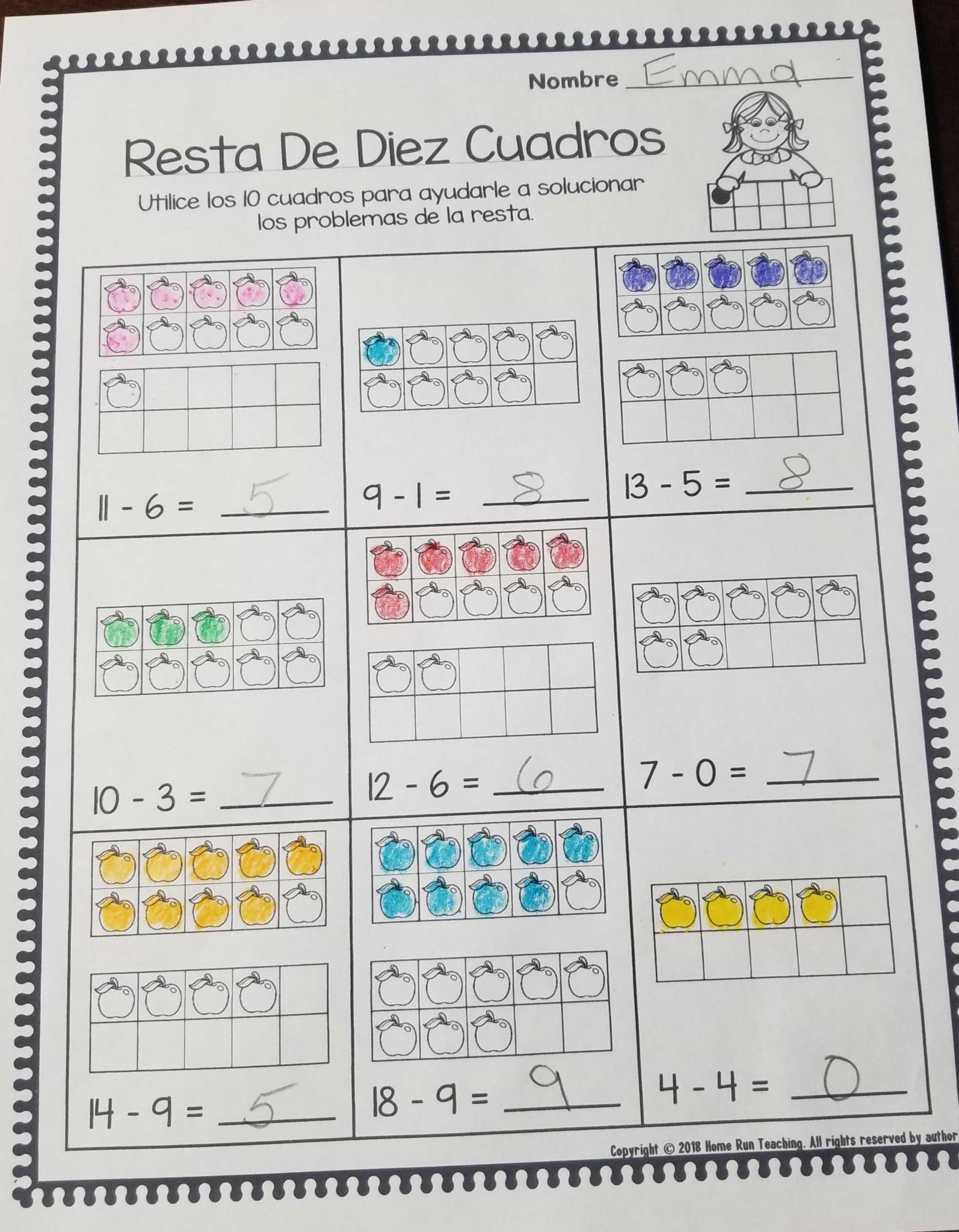 Spanish Phonics Worksheets Also Subtraction Packet In Spanish