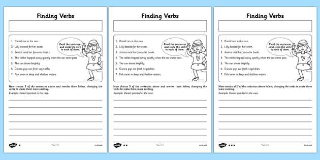 Stem Activity Worksheets and Finding Verbs Worksheet Activity Sheet Finding Verbs