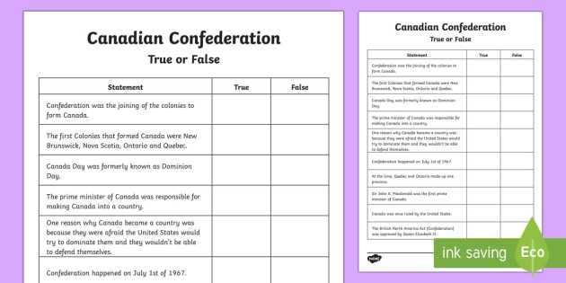 Stem Activity Worksheets with Canadian Confederation True or False Worksheet Activity Sheet