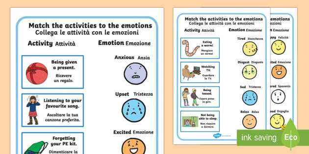 Survival Signs Worksheets Also Emotions Worksheet Activity Sheets English Italian Emotions