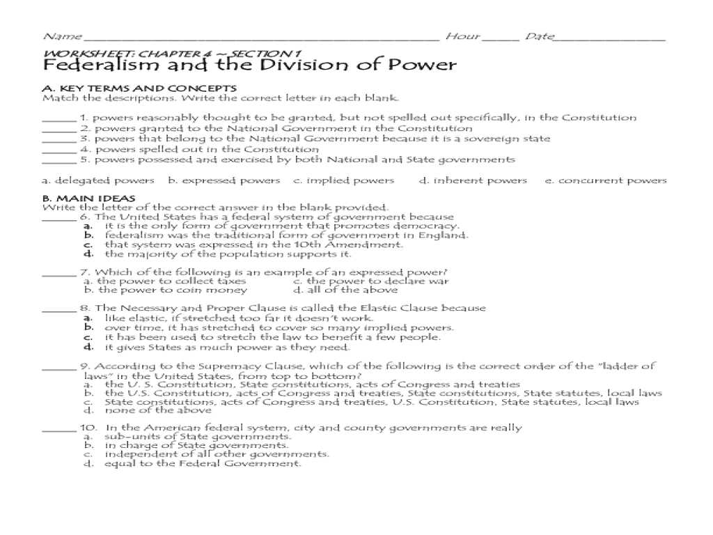 The Constitutional Convention Worksheet as Well as Worksheet Federalism Answer Key Kidz Activities