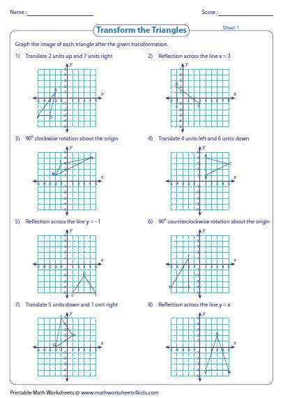 Transformations Worksheet Algebra 2 Along with Position Of Transformations Worksheet Transformation Worksheets