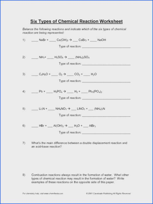 Types Of Chemical Reactions Worksheet Also Chemical Reaction Worksheet Gallery Worksheet Math for Kids