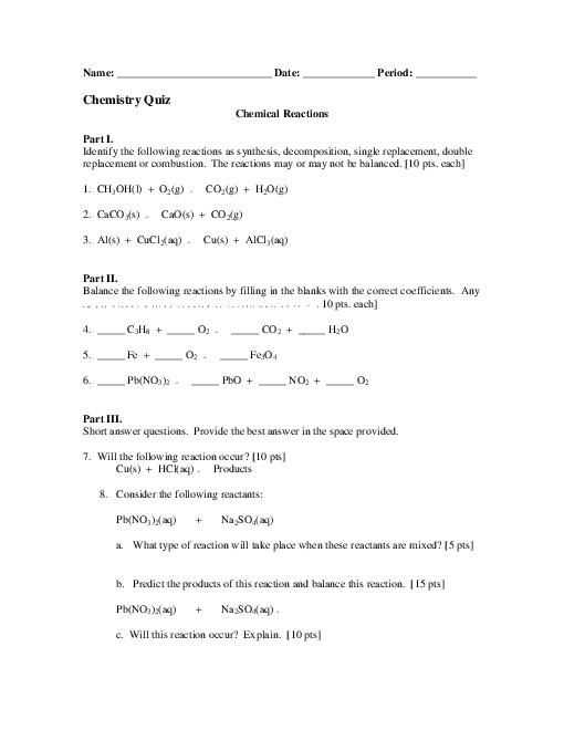 Types Of Chemical Reactions Worksheet as Well as Students Identify the Four Different Types Of Chemical Reactions