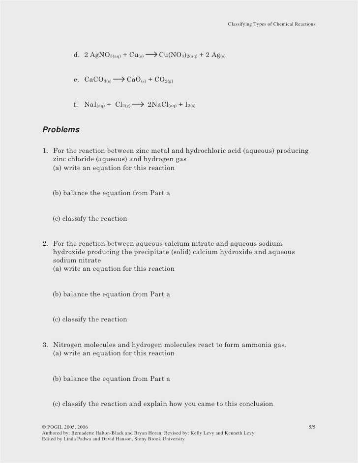 Types Of Chemical Reactions Worksheet or 5 Types Chemical Reactions Worksheet Worksheet Math for Kids