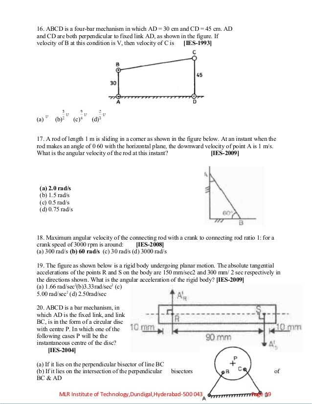 Velocity and Acceleration Worksheet Along with Kinemtics Of Machinery Objectives assignments Tutorial Problems