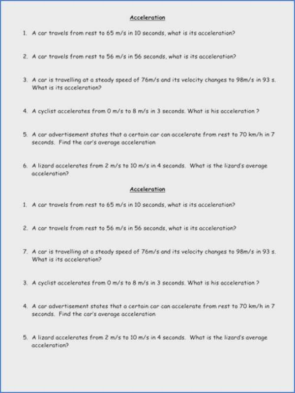 Velocity and Acceleration Worksheet and Velocity and Acceleration Worksheet