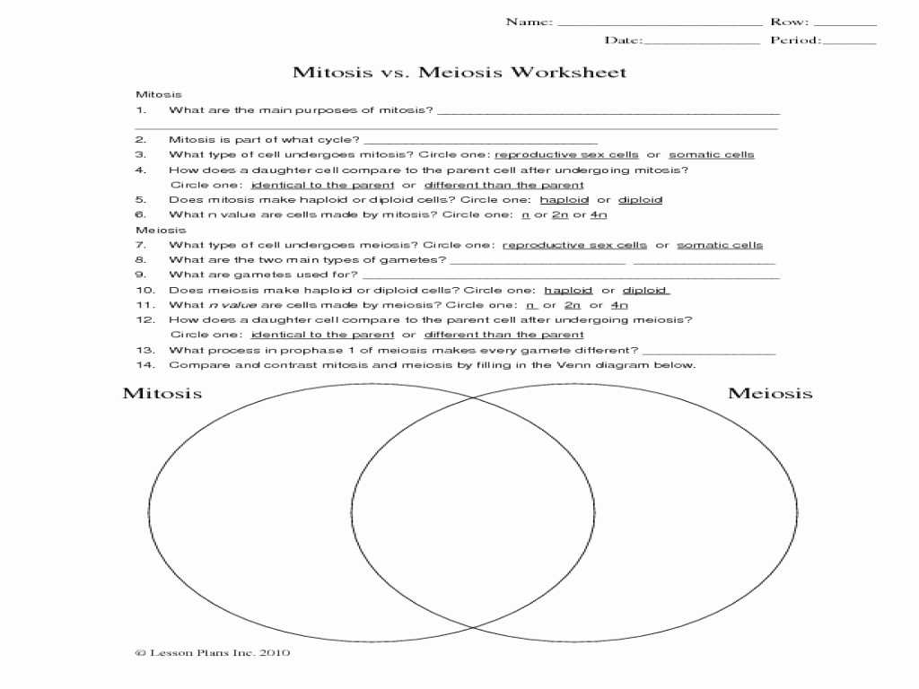 mitosis and meiosis venn diagram answers 220 volt breaker wiring diagrams worksheets with as well vs unique