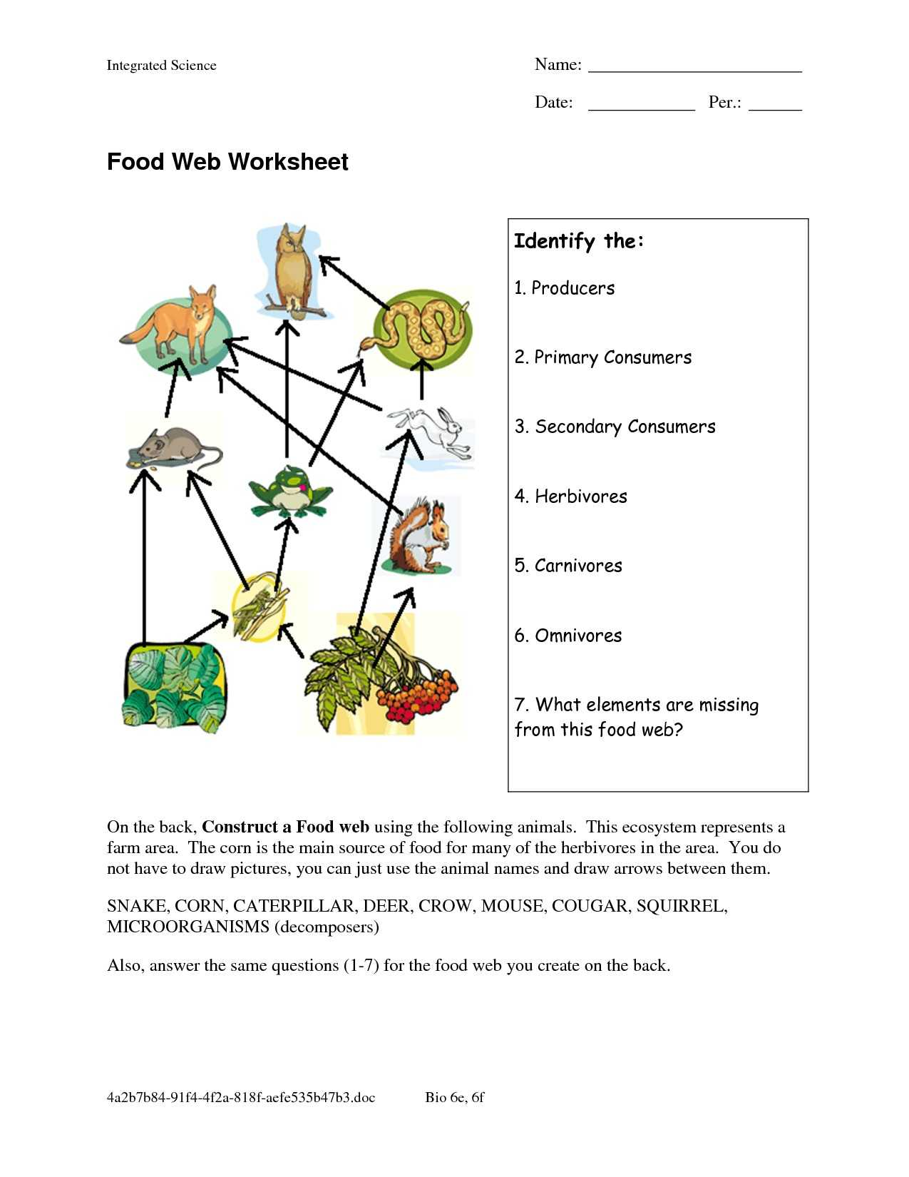 Wolves In Yellowstone Student Worksheet Answers as Well as Food Chain and Food Web Worksheet Choice Image Worksheet for Kids