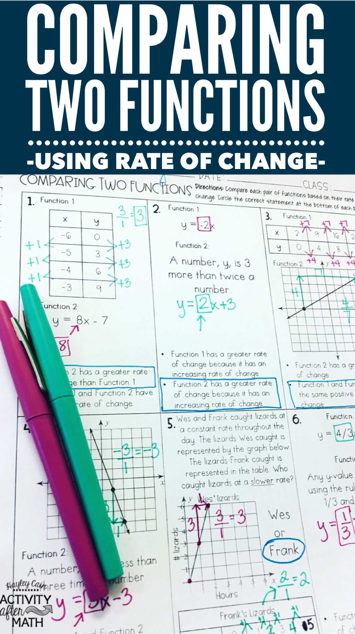 Worksheet Factoring Trinomials Answers Key Also Paring Two Functions by Rate Of Change Practice Worksheet