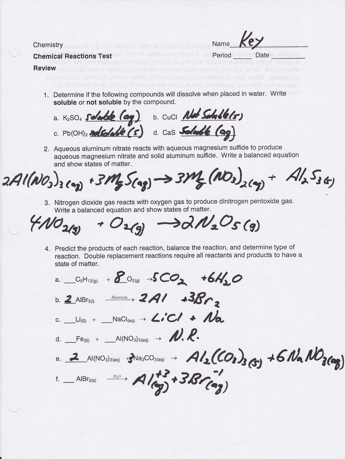 Classification Of Chemical Reactions Worksheet and Chemical Reactions Worksheet 36 Answers Proga