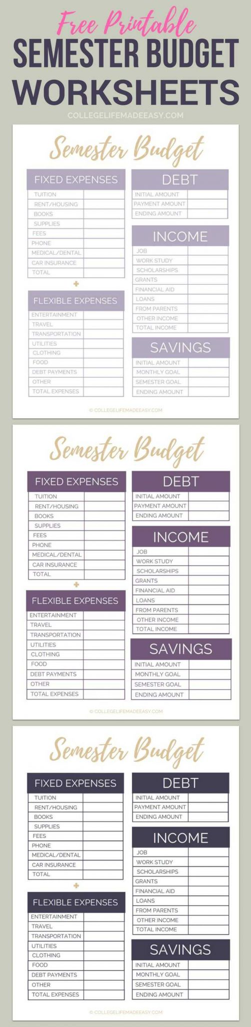 Financial Budget Worksheet as Well as 121 Best Printables for College organizational Bud Art Decor