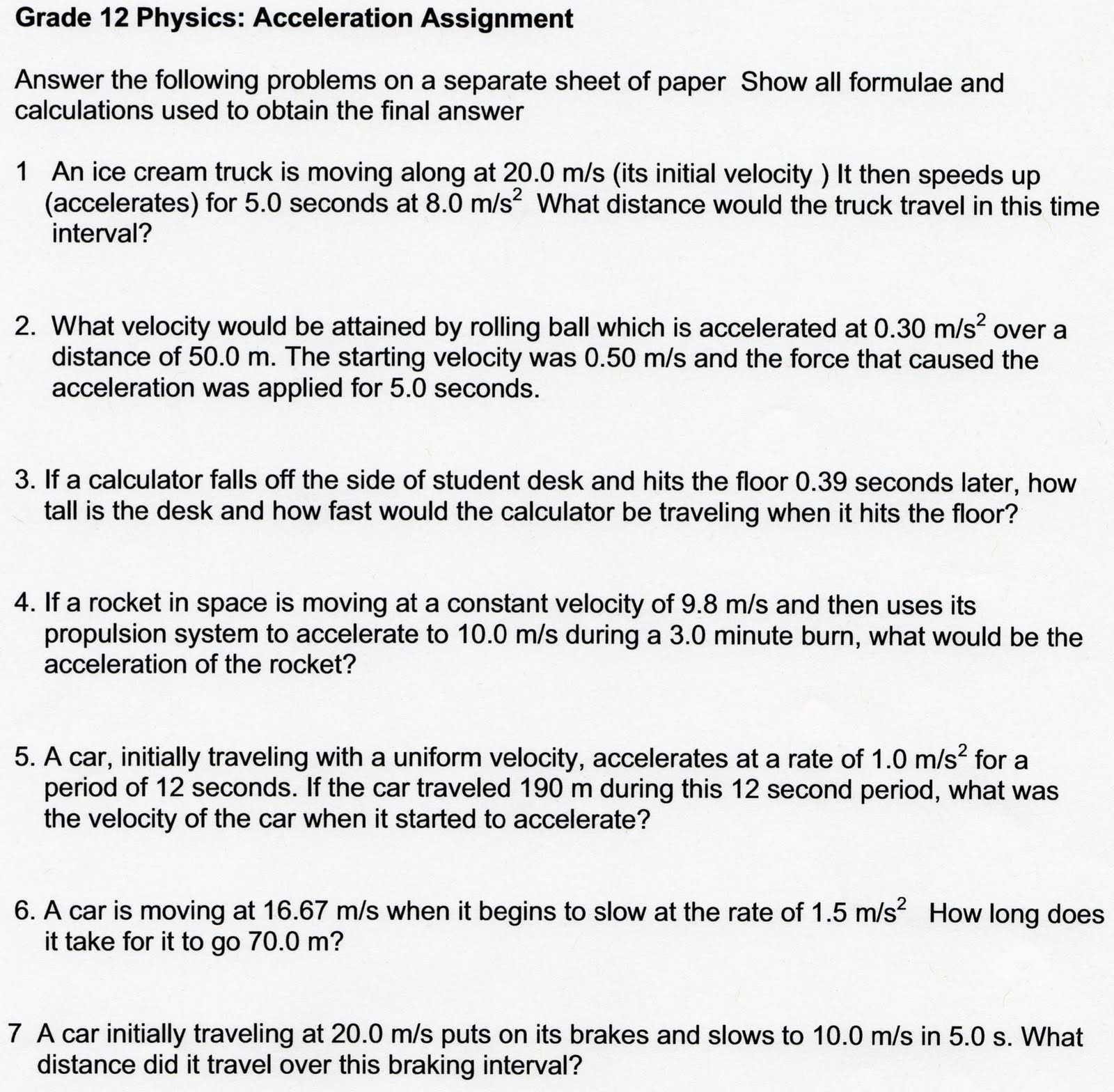 Force And Motion Worksheets And High School Physics