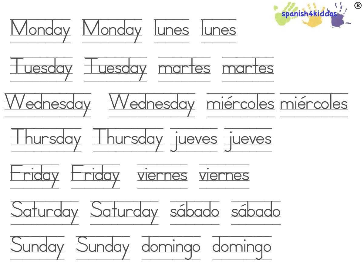 Free English Worksheets Along with Days Of the Week Printable – Spanish4kiddos Educational