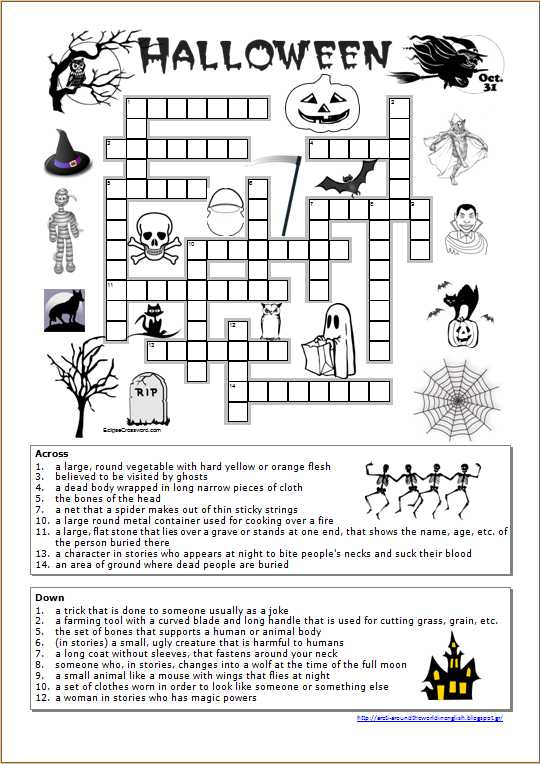 Free English Worksheets together with Around the World In English Halloween Crossword Worksheet