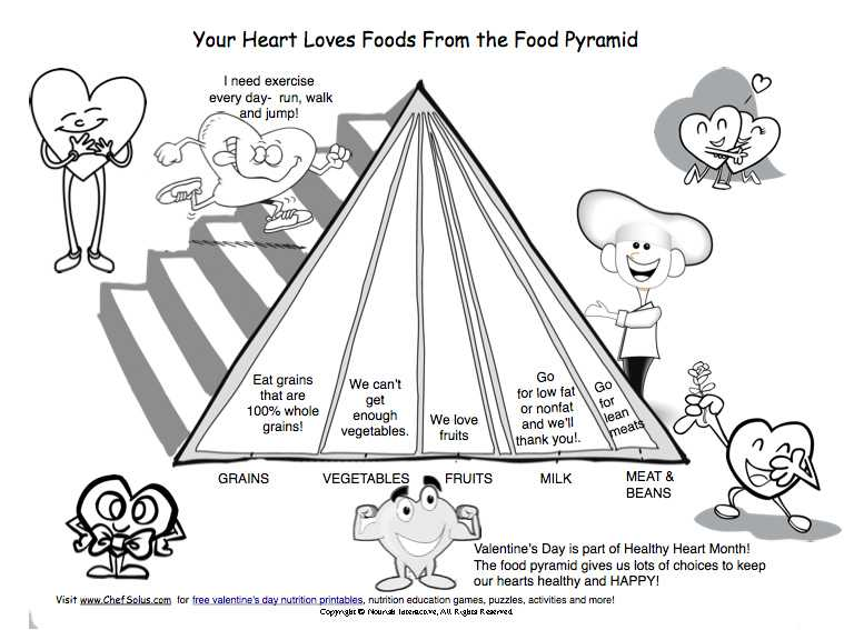 Free English Worksheets with Kids Valentine Food Pyramid Heart Healthy Printable for K