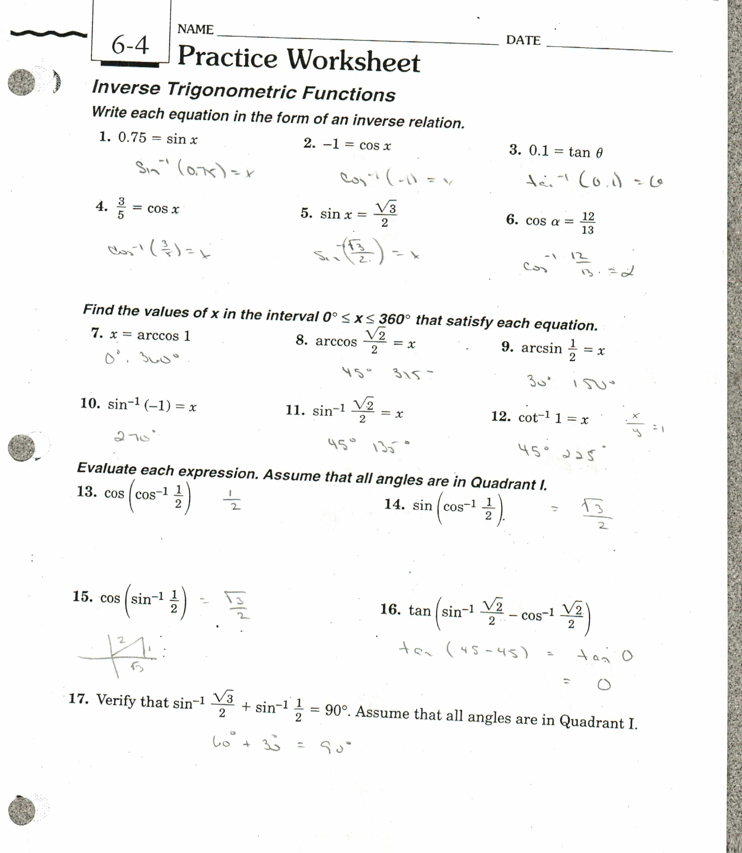 Inverse Functions Worksheet Answer Key as Well as Inverse Functions Worksheet Answers Choice Image Worksheet for