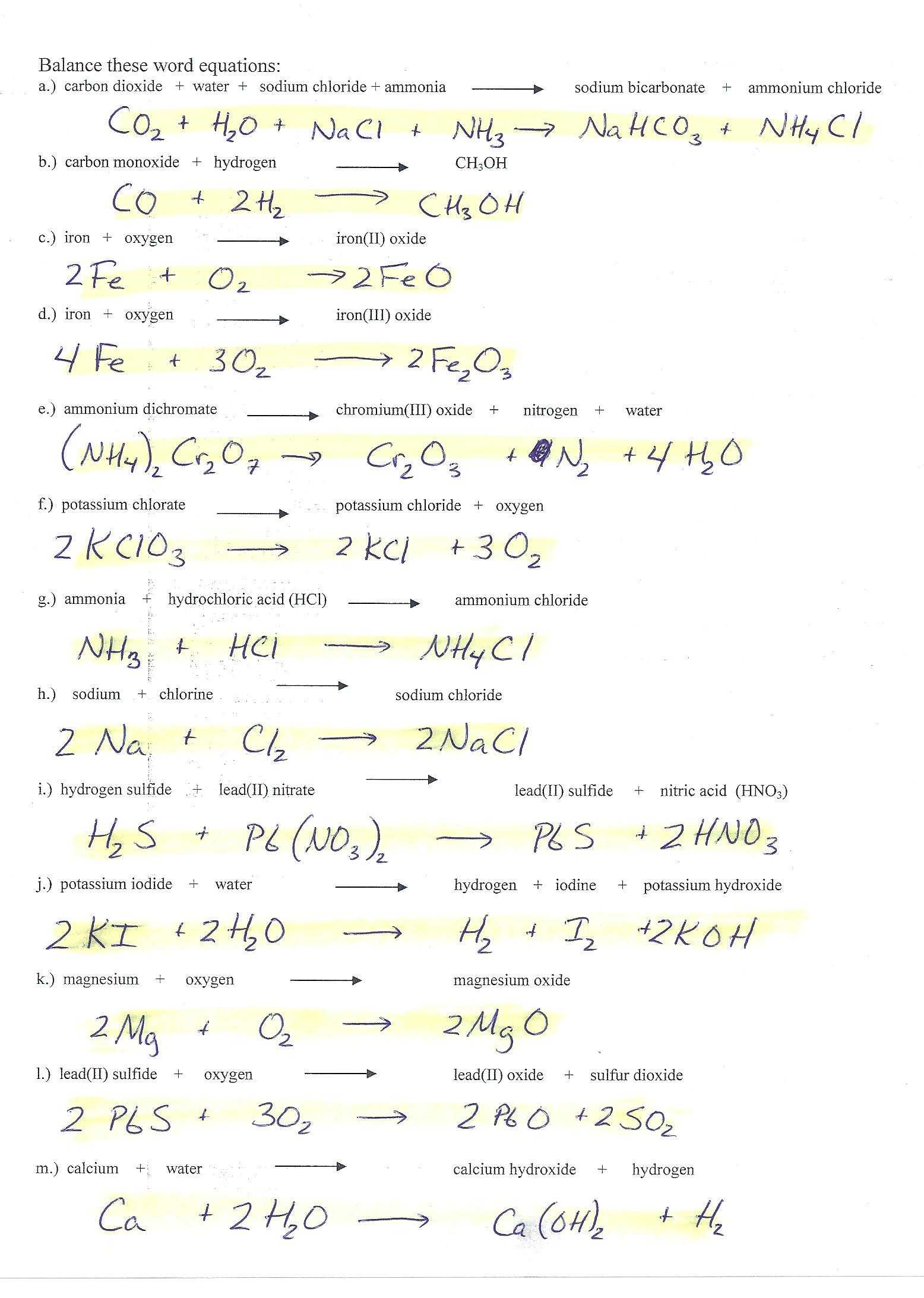 Limiting Reagent Worksheet 2 as Well as Limiting Reagent Worksheet Answers New Balancing Chemical Equations