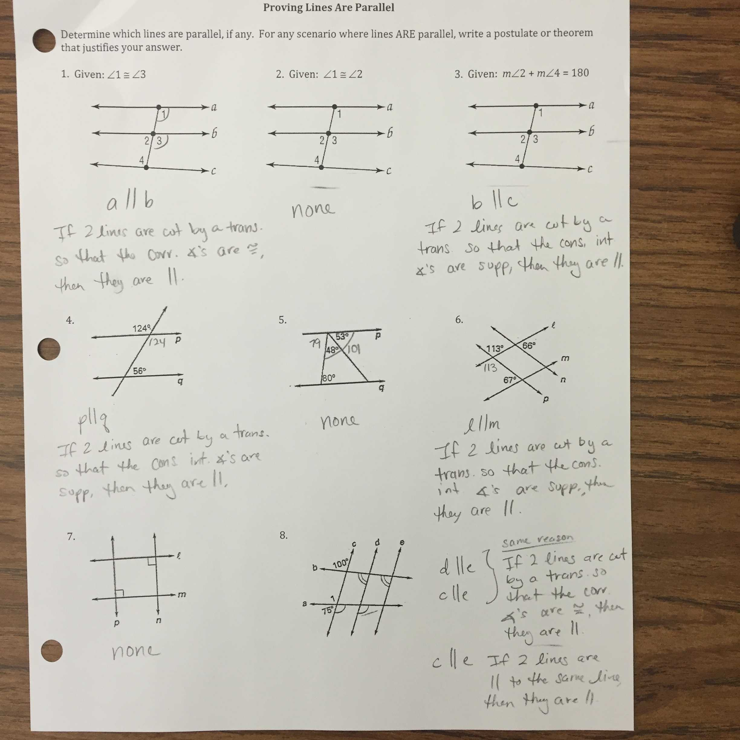 Proving Parallel Lines Worksheet with Answers Also Proving Lines Parallel Worksheet Answers Choice Image Worksheet