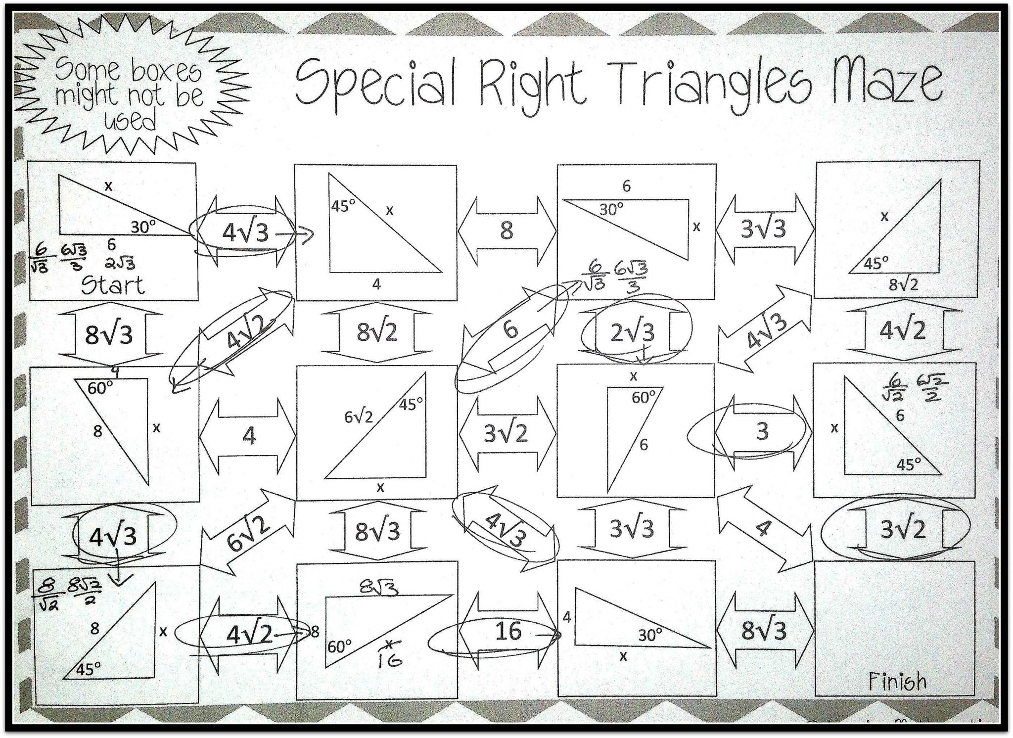 Right Triangle Word Problems Worksheet Also Special Right Triangles Maze Pinterest