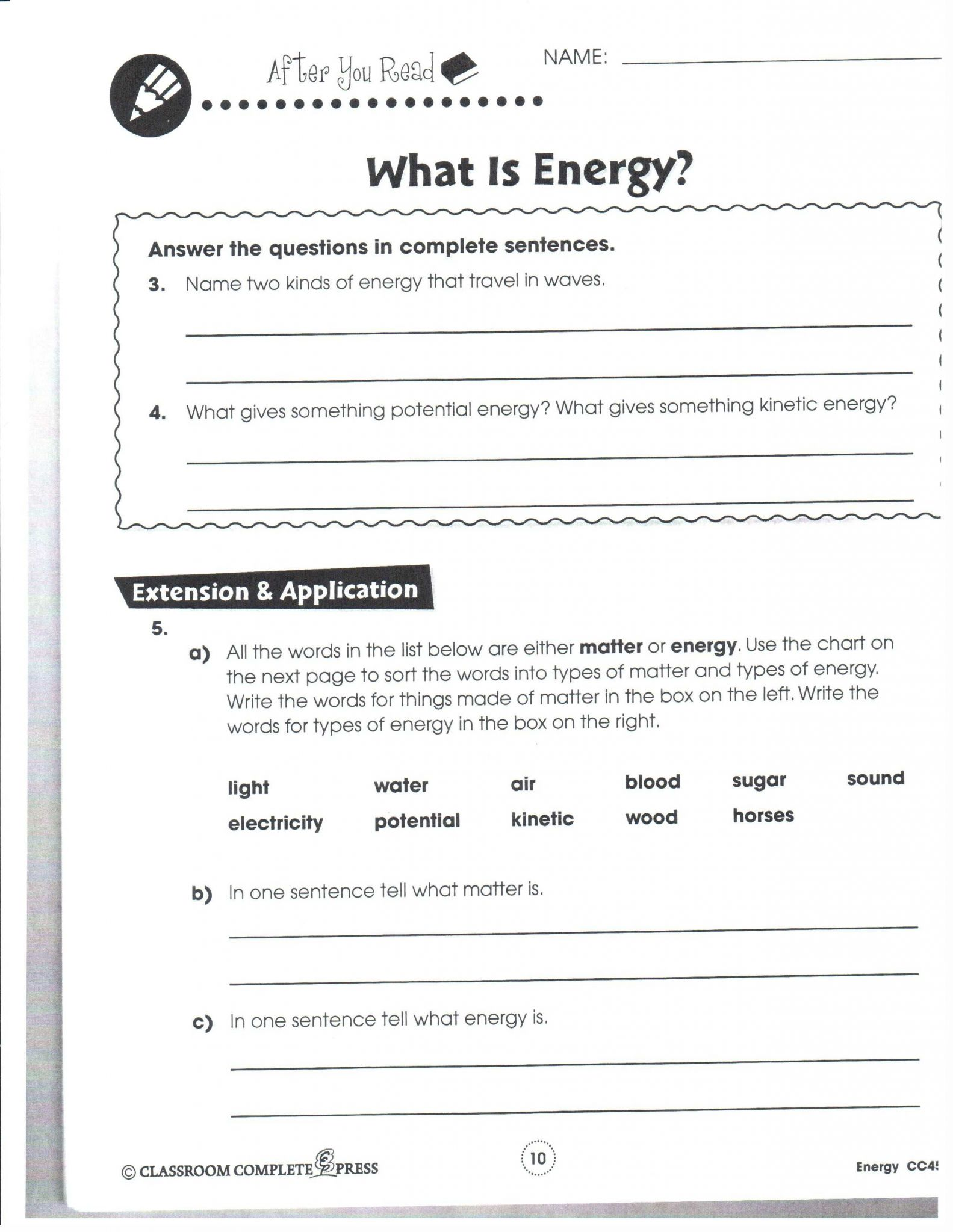 Solving Equations with Variables On Both Sides Worksheet Answers or Energy Worksheet Physical Science Kidz Activities