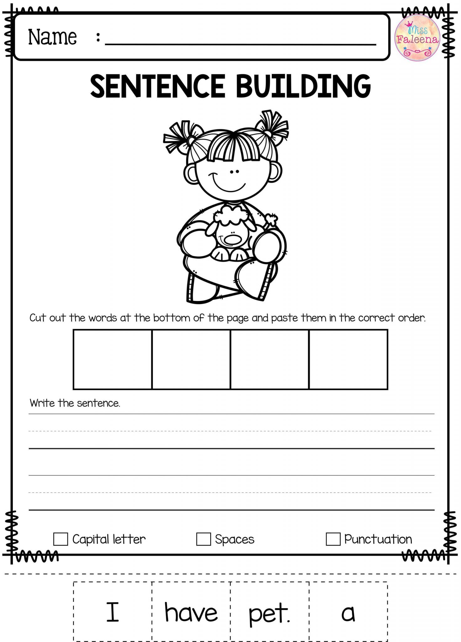 Writing Sentences Worksheets for 1st Grade and Free Sentence Building Has 10 Pages Of Sentence Building
