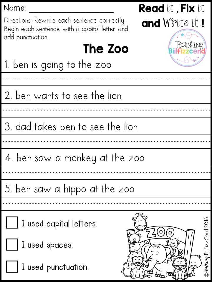 Writing Sentences Worksheets for 1st Grade or Free 20 Fix It Up Pages these are Great for Students In