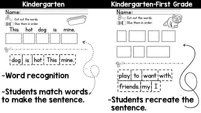 Writing Sentences Worksheets for 1st Grade together with Mentor Sentences for Kindergarten and First Grade Ideas