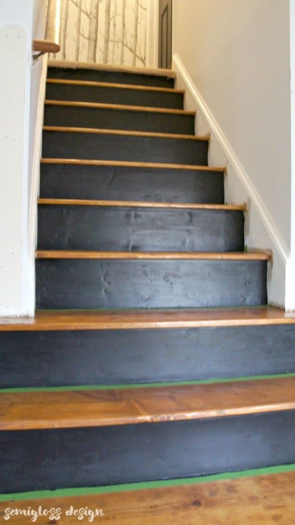 How To Paint And Stain Stairs For An Updated Look Semigloss Design | Painted And Stained Stairs | Easy Diy | Two Tone | Espresso Stained | Pinterest | Home
