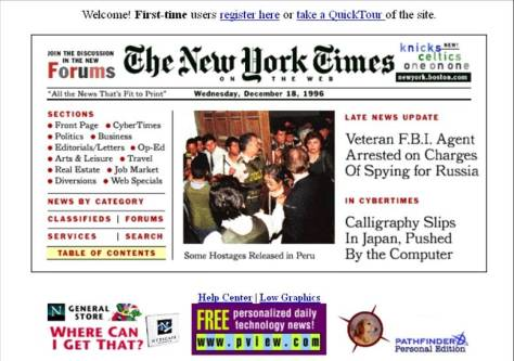 New York Times Website, December 18th 1996