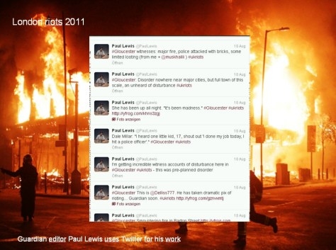 London Riots 2011: Guardian editor Paul Lewis uses Twitter for his work