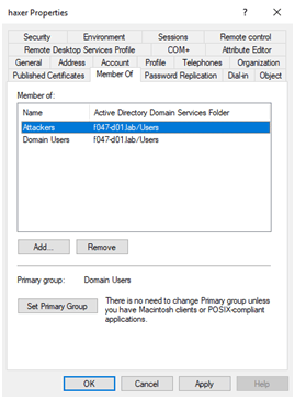 Setting Primary Group in Active Directory