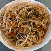 Muschelragout mit Spaghetti
